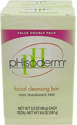 pHisoderm Fragance Free Facial Cleansing Bar 2-Count (Pack of 4)