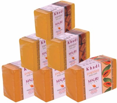 Khadimauri Papaya & Sandal Soap - Pack of 6 - Premium Handcrafted Herbal