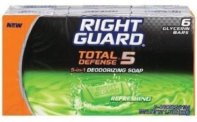 Right Guard Total Defense 5 5-in-1 Refreshing Bars 6 in a Pack (Pack of 2) 12 Bars Total
