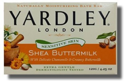 Yardley London Sensitive Skin Soap Bath Bar Shea Buttermilk (Pack of 3)