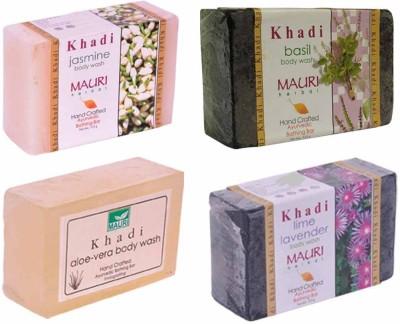 Khadimauri Jasmine Basil Aloe-Vera Lime-Lavender Soaps - Combo Pack of 4 - Premium Handcafted Herbal