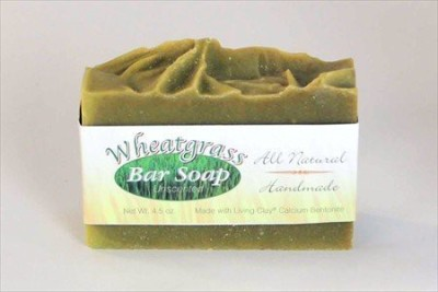 Living Whole Foods Wheatgrass & Calcium Bentonite Clay Soap - Unscented - 1 Bar - Living Clay Exfoliant Skin Care Soap For Oily Skin - Wheat Grass Face & Body Soap