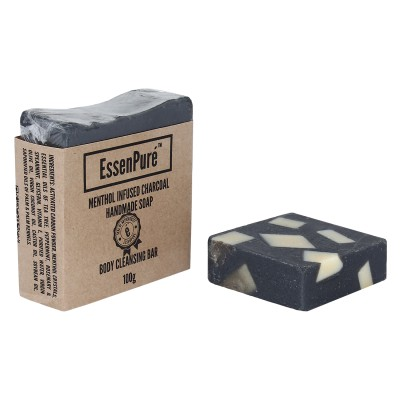 EssenPure Menthol Infused Charcoal Handmade Soap (Pack of 2)