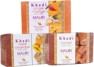 Khadimauri Haldi Chandan Ginger Mango Sandal Soaps Pack of 3 Herbal Ayurvedic Natural