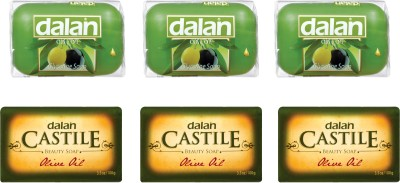 Dalan Combo of Pure Olive Oil Soap - Castile Beauty Soap (3 X 100 gms) and Glycerine Soap (3 X 100 gms) - Total 6 X 100 gms.