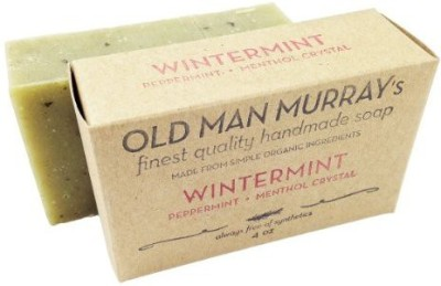 Old Man Murray's Wintermint All-Natural Soap (2 Bars) Peppermint Menthol Crystal - Handmade w/ Simple Organic Ingredients - No Parabens Alcohol Petroleum Artificial Dyes or Fragrances