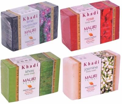 Khadimauri Lime-Lavender Rose Khas Jasmine Soaps - Combo Pack of 4 - Premium Handcafted Herbal