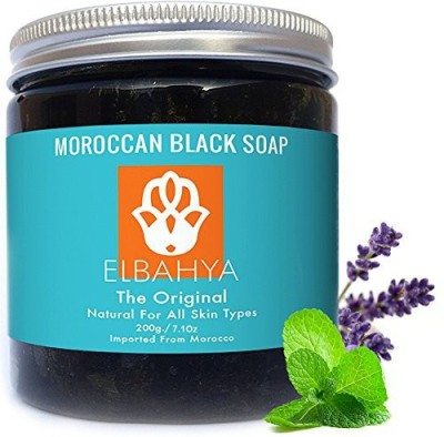 Elbahya Organic Moroccan Black Soap with Lavender Essential Oil & Mint Include Exfoliating Glove & Manual Guide Never Tested on Animals and Free From Chemicals Best Gift for Men Women Mom