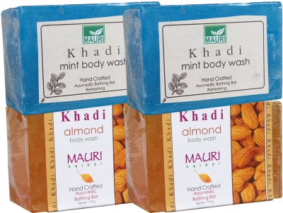 Khadimauri Almond & Mint Soaps Twin Pack of 4 Herbal Ayurvedic Natural