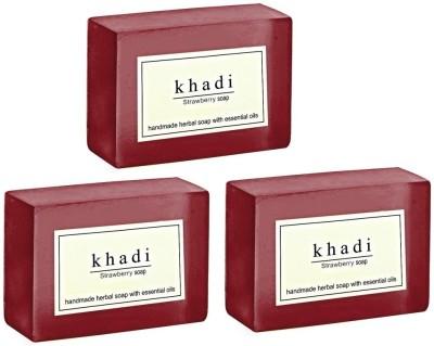Khadi Herbal NaturalStrawberry Soap - Pack of 3