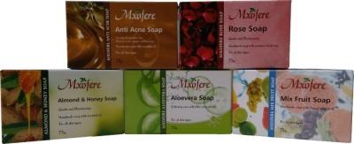 Mxofere Natural Handmade anti acne rose almond honey aloevera mixfruit Soap Kit(pack of 5)
