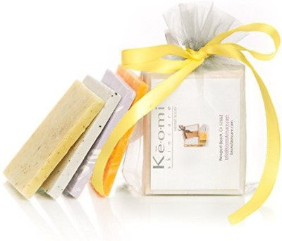 Keomi Skincare HANDMADE SOAP SAMPLER SET - ORGANIC - ALL NATURAL - Pure Aromatherapy Grade - 4 Sample Size Bars