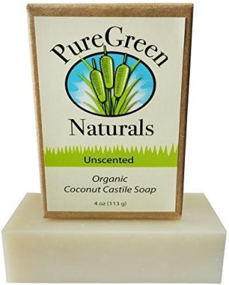 PureGreen Naturals Coconut Castile Soap Bar - Organic Unscented Sensitive Skin (1 pack) - Pure and All Natural