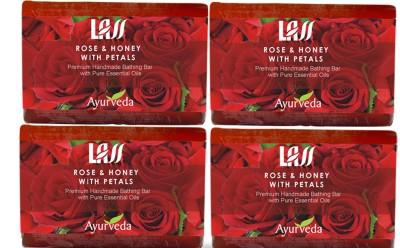 Lass Naturals Rose & Honey with Petals Soap (Pack of 4)