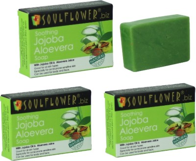 Soulflower Soothing Jojoba Aloevera Soap combo of 3