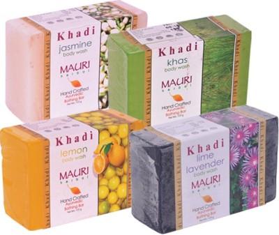 Khadimauri Premium Ayurvedic Pack of 4 - Jasmine Kas Lemon Lime-Lavender Body Wash Soap