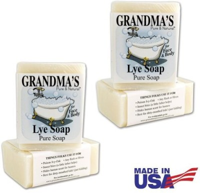 Remwood Grandma's Pure & Natural Lye Soap Bars for Dry Skin No Additives (Set of 4)