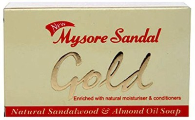 Mysore Sandal Gold Soap Per Unit (Pack of 4) - Purest Sandalwood Soap - 100% Pure Essential Oils - Grade 1 Soap - TFM 80% - Suitable for ALL Skin Type - Enriched with Natural Moisturizer & Conditioners - Zero Dryness - Soap