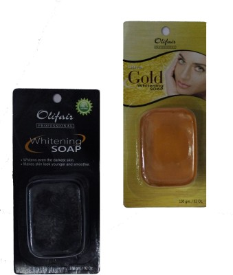 Olifair Pack of Charcoal and Gold Whitening Soap