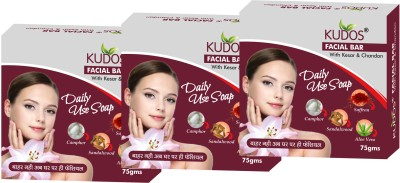 Kudos Facial Bar with Kesar & Chandan X3 Pack
