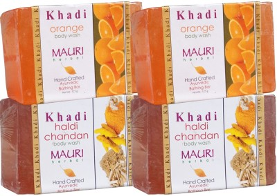 Khadimauri Haldi Chandan & Orange Soaps Twin Pack of 4 Herbal Ayurvedic Natural