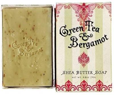 Greenwich Bay Trading Company Green Tea & Bergamot - Triple Milled Shea Butter Exfoliating Craft Bar Soap Gift Box