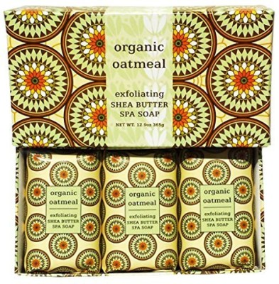 Greenwich Bay Trading Company Organic Oatmeal Exfoliating Shea Butter Spa Soap Set by Individually Wrapped 3 in Gift Box