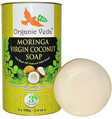 Organic Veda Moringa Virgin Cocunut Soap (3 Pack). Plant Based Vitamins and Minerals. Mild and Daily Care. Advanced Herbal Formula.