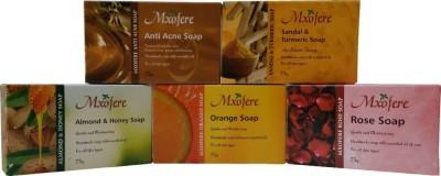 Mxofere Natural Handmade anti acne sandal turmeric almond honey orange rose Soap Kit(pack of 5)