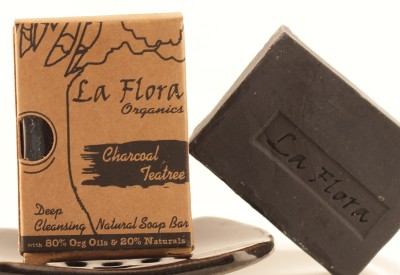La Flora Organics Charcoal Teatree deep Cleansing Black Soap Bar