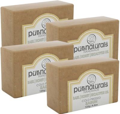 Purenaturals Hand Made Soap Basil, Honey, Eucalyptus Oil - 125g (Set of 4)