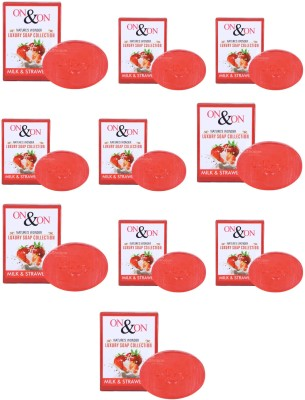 On & On Natures Luxury Milk & Strawberry Soap (Pack of 10 Each 75gm)