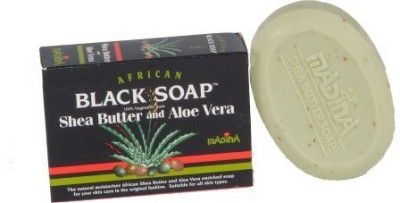 madina African Black Soap with Shea Butter & Aloe Vera -100 % Vegetable Base (Pack of 6)