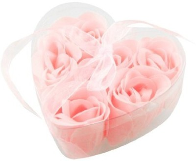 Rosallini 6 Pcs Light Pink Decorative Fragrant Rose Bud Petal Soap Wedding Favor