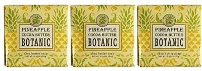 Greenwich Bay Trading Company French Milled PINEAPPLE COCOA BUTTER Shea Butter Bar Bath Soap | Shea Butter Cocoa Butter Captivating Botanical Spa Soap (3 Pack)