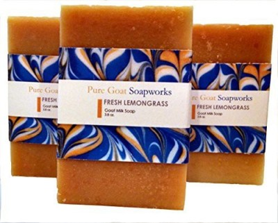 Pure Goat Soapworks Fresh Lemongrass Goat Milk (3-pack)