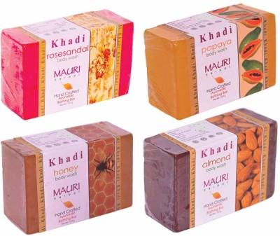 Khadimauri Rose-Sandal Papaya Honey Almond Soaps - Combo Pack of 4 - Premium Handcafted Herbal