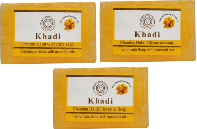 Khadi Herbal NaturalChandan Haldi Glycerine Soap Pack Of 3