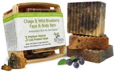 My Berry Organics Maine Soap (3) Face & Body Bars Unique Gift Natural Soaps With Maine Chaga Mushroom Organic Wild Blueberries and Organic Goat,s Milk