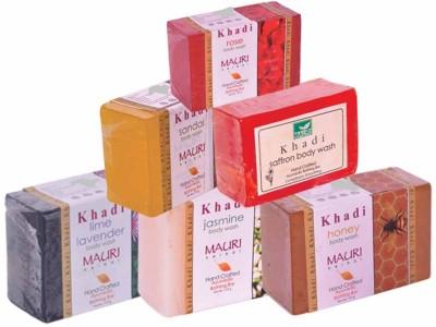 Khadimauri Lime-Lavender Jasmine Honey Sandal Saffron Rose Soaps - Combo Pack of 6 - Premium Handcafted Herbal
