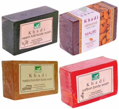 Khadimauri Neem-Tulsi Almond Haldi-Chandan Saffron Soaps - Combo Pack of 4 - Premium Handcafted Herbal