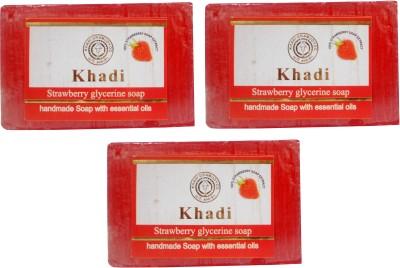 Khadi Herbal NaturalStrawberry Glycerine Soap Pack Of 3