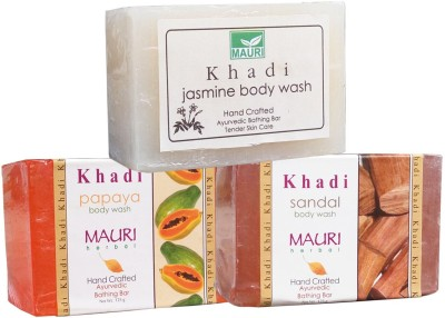 Khadimauri Jasmine Papaya Sandal Soaps Pack of 3 Herbal Ayurvedic Natural