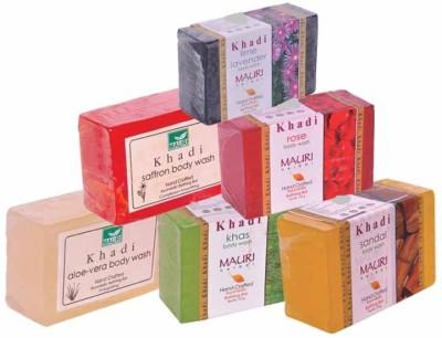 Khadimauri Aloe-Vera Khas Sandal Saffron Rose Lime-Lavender Soaps - Combo Pack of 6 - Premium Handcafted Herbal