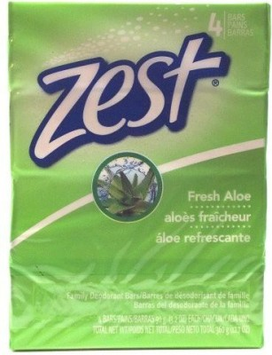 Kodiake Zest Fresh Aloe with Refreshing Scent and Rich Lather 4 Bars Family Deodorant Bars Get Zestfully Clean (1 Pack)