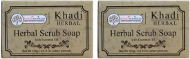 Khadi Rishikesh Herbal Apricot Scrub Soap-Pack of 2 Each(125 g)