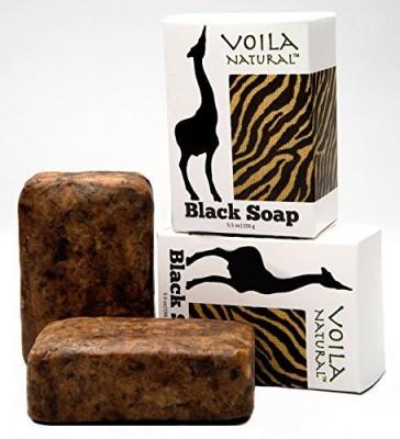 Voila Natural African Black Soap with Shea Butter & Bonus Face Oil Blend with Rosehip Argan Jojoba & Marula Oil (pack of 2)
