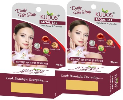 Kudos Facial Bar with Kesar & Chandan X2 Pack