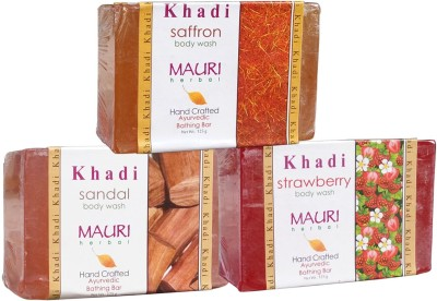 Khadimauri Sandal Strawberry Saffron Soaps Pack of 3 Herbal Ayurvedic Natural