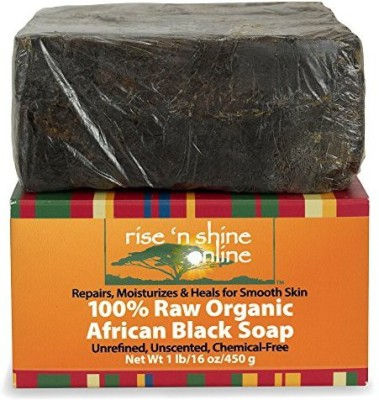 Rise ,N Shine Online Raw African Black Soap Bar From Ghana - FREE EBOOK - Body Wash Shampoo & Face Wash - Authentic Organic Homemade Soap with - Helps Clear Skin Acne Eczema Psoriasis